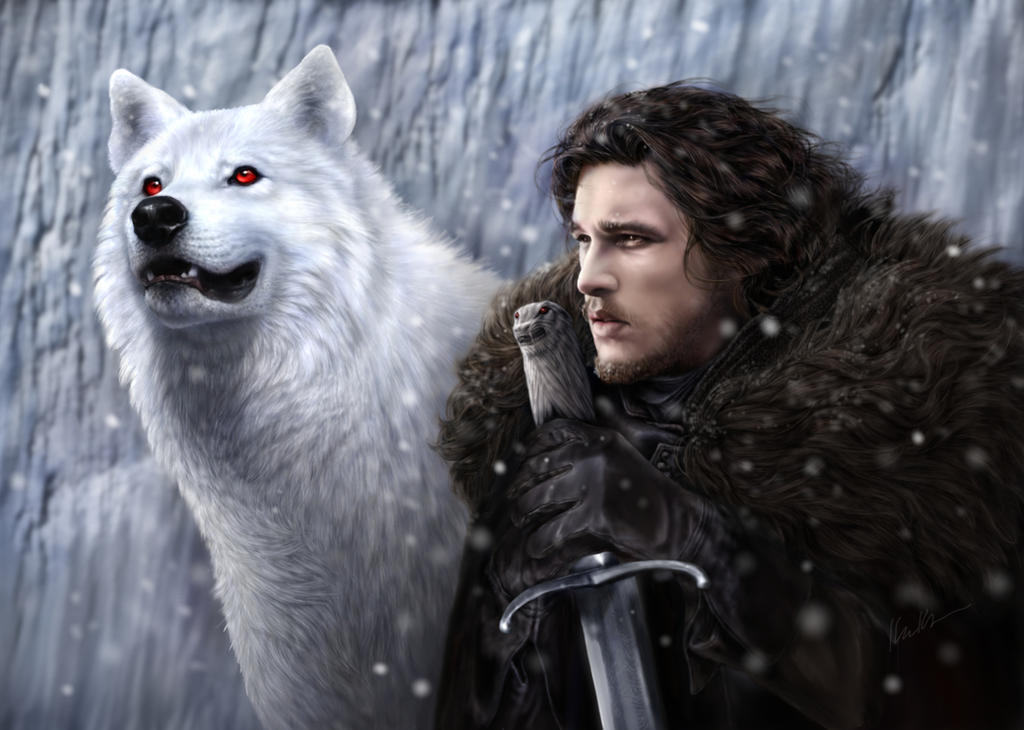 Jon snow and ghost by drkujo on deviantart for Painting games com