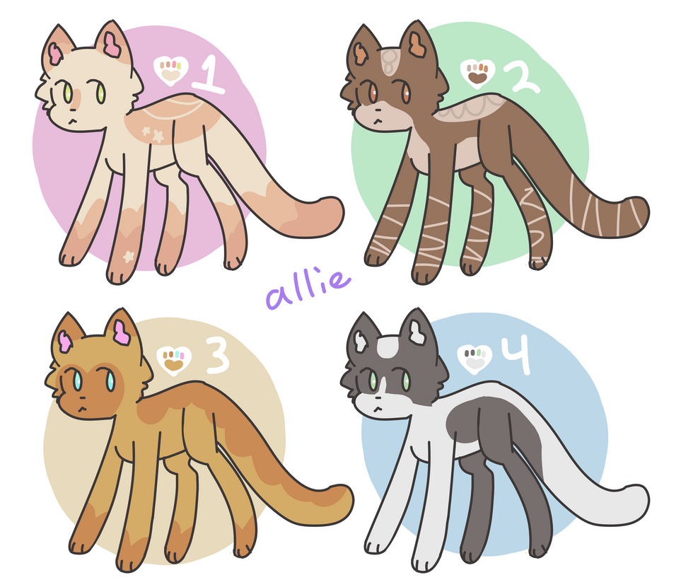 4 cat adopts [OPEN] [CHEAP] by alliemews