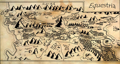 Map of Equestria (Tolkien-ified) by fimoman