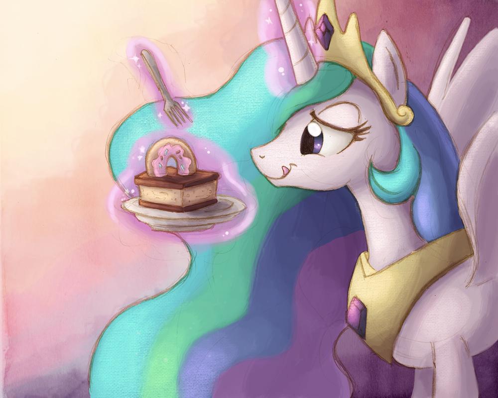 Princess Celestia with Cake by Ric-M