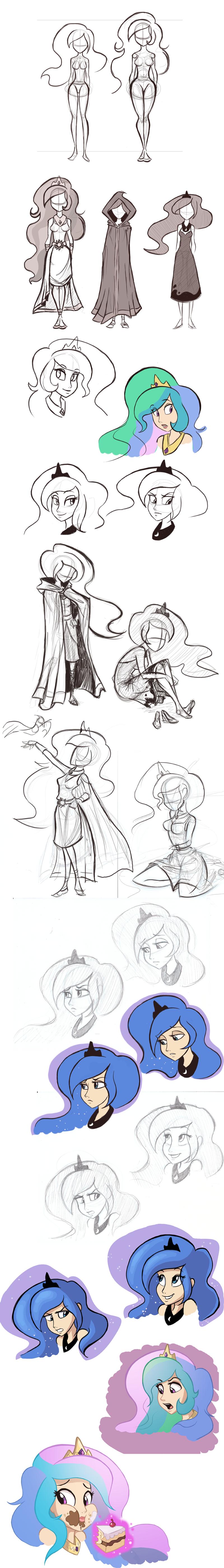 Luna and Celestia Sketchdump by Ric-M