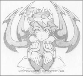 Skullgirls Filia - Mechanical pencil sketch by KennyMcCormix