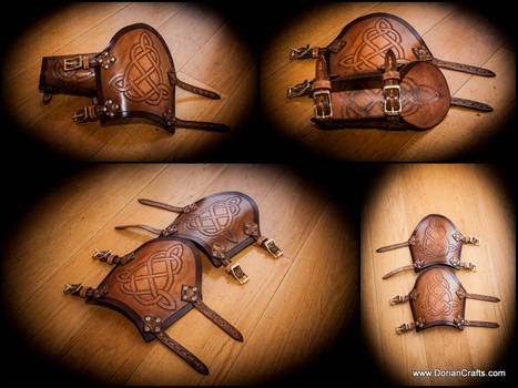 Leather Arm Bracers with a celtic pattern.