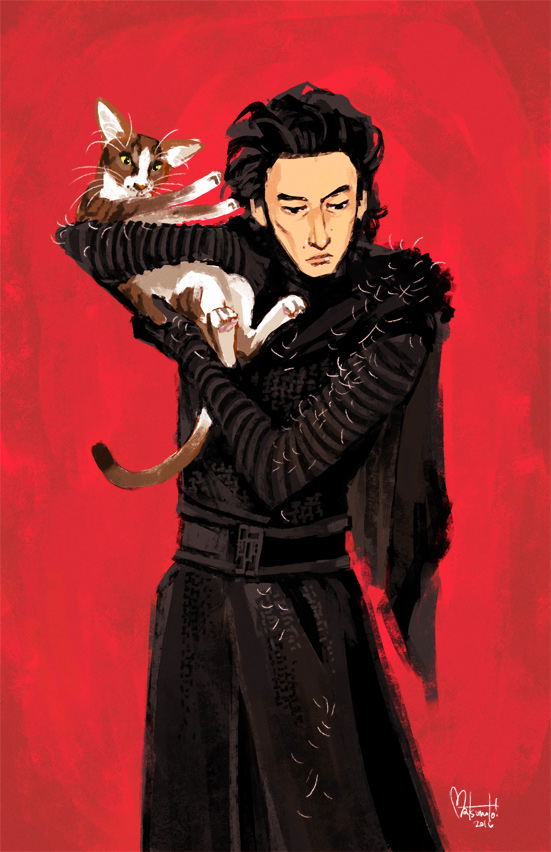 Kylo Ren and Adam Driver Cat by spacecoyote