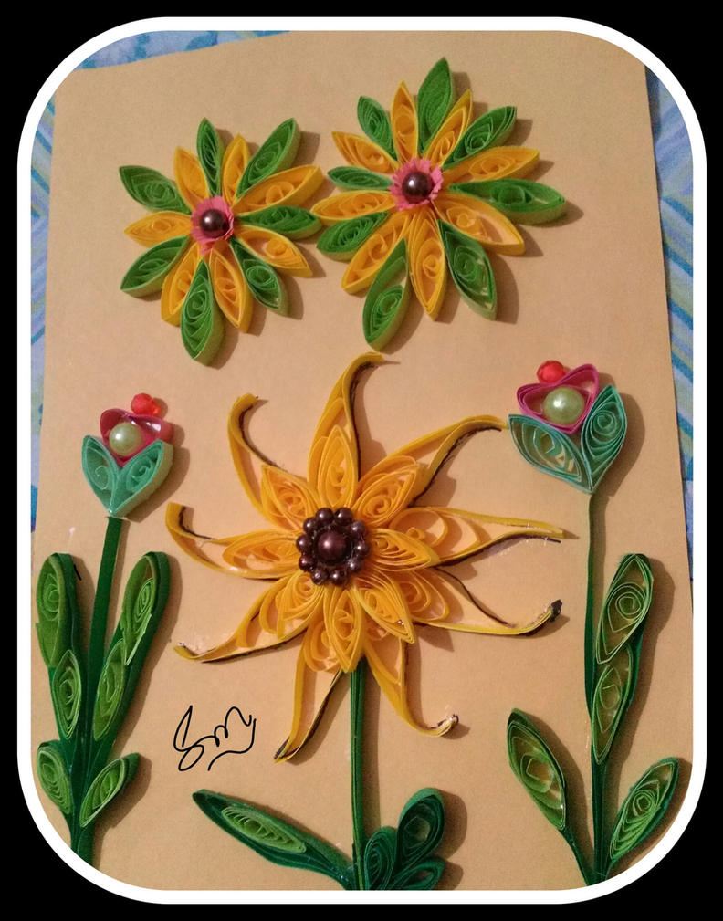 Sun flower quilling by saeedamahmood