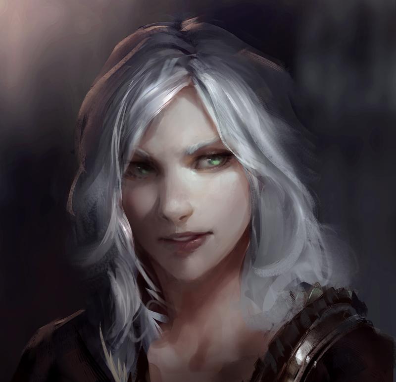 White Hair Girl Art