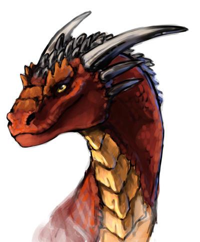 Red dragon sketch by grzanka