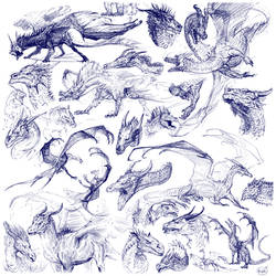 Blue line sketches by grzanka