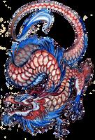 Red blue dragon by grzanka