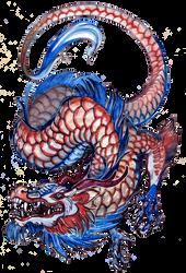 Red blue dragon