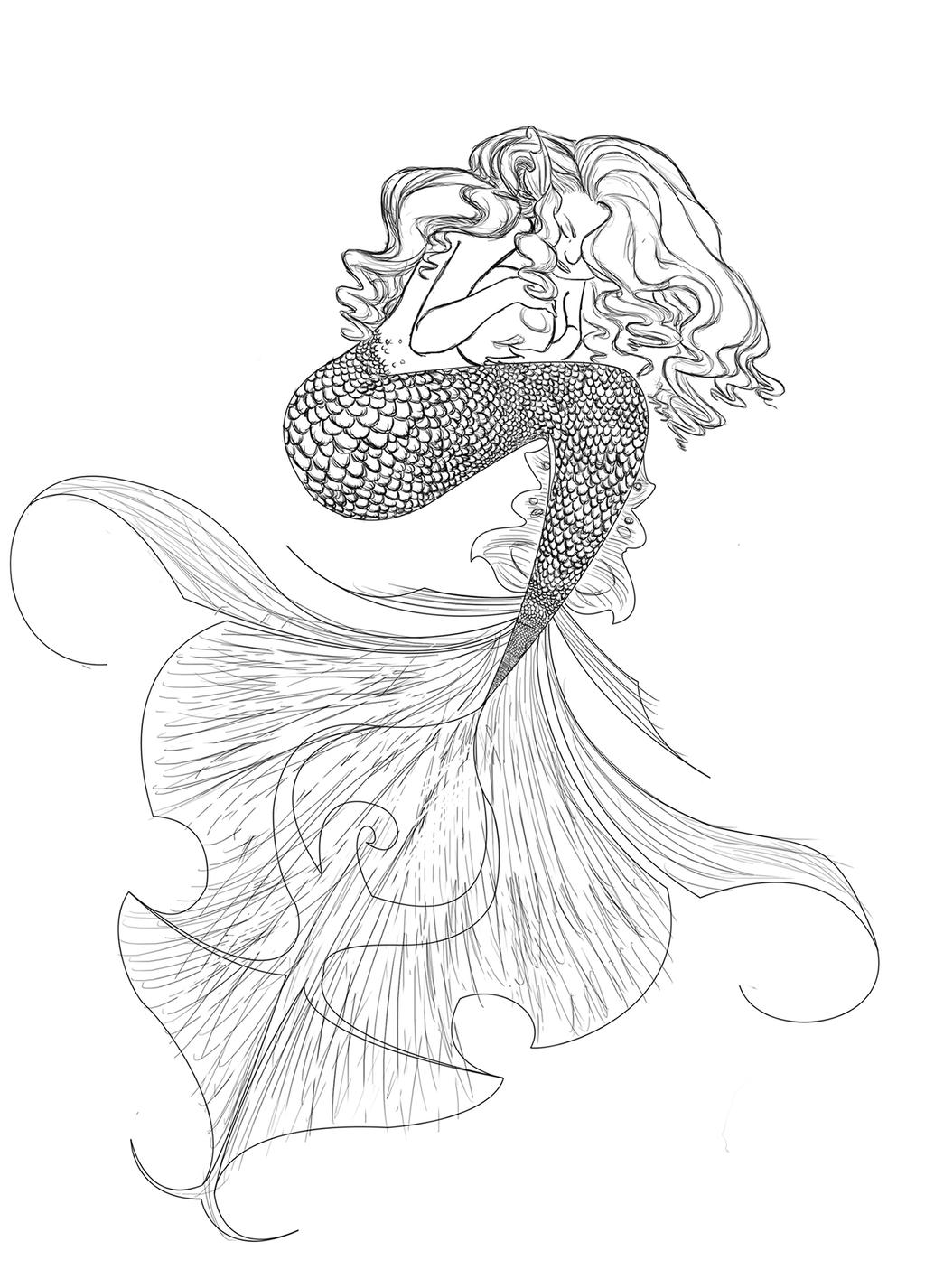 Mermaid line drawing by jocegurr on deviantart for Mermaid tail coloring pages