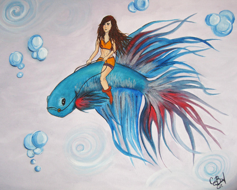 Betta Fish Ride by ktbassano on DeviantArt Betta Fish Drawings