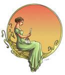 Demoiselle Art Nouveau colored
