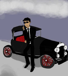 Crowley and his bentley by chipscribbles