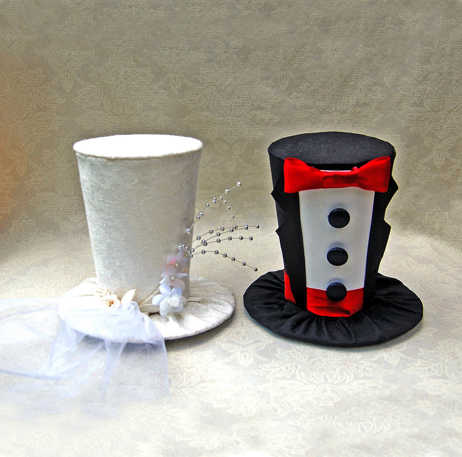Tiny top hats the bride and groom by tinytophats on for Tiny top hats for crafts