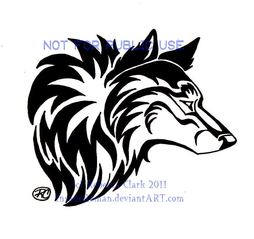 Tribal Wolf Head by InsaneRoman