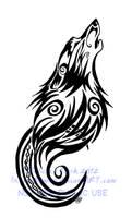 Tribal Swirls Wolf and Moon Tattoo