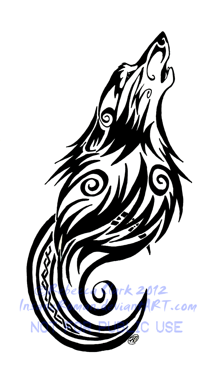 Tribal Swirls Wolf and Moon Tattoo by InsaneRoman