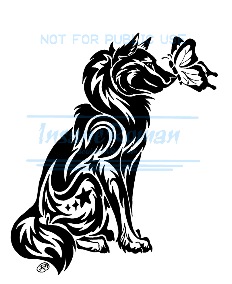 Wolf and Butterfly Tattoo WIP by InsaneRoman