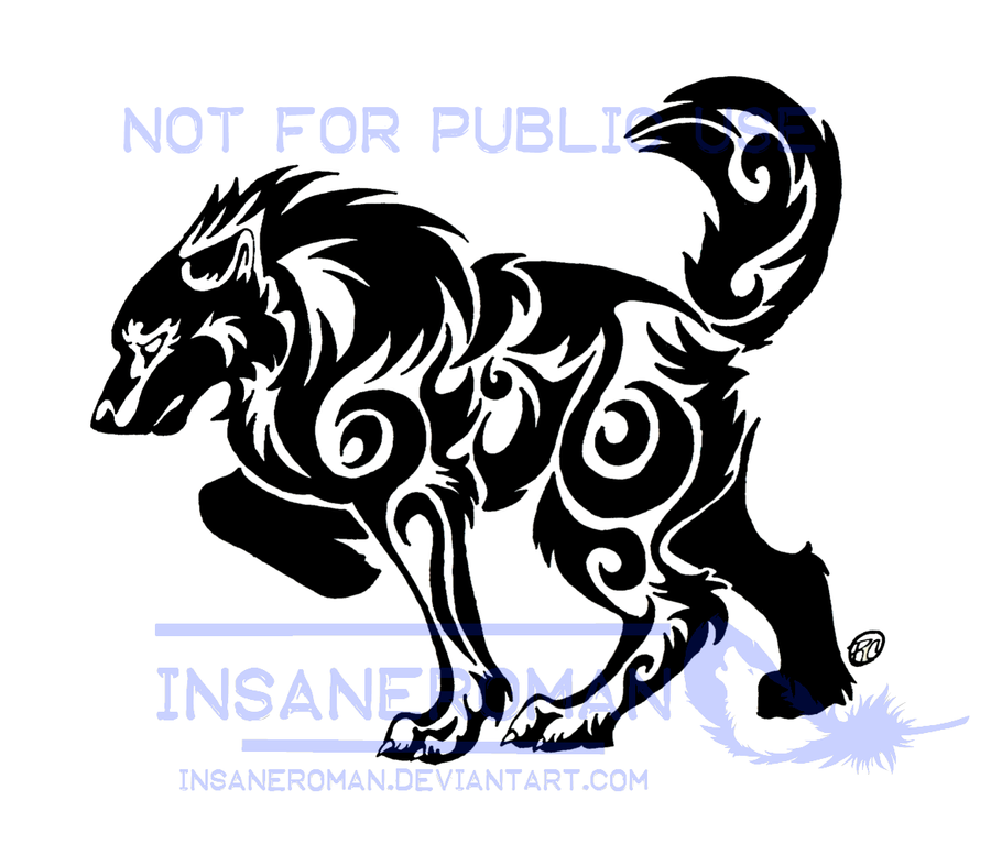 Bold Swirl Wolf Tattoo Design by InsaneRoman