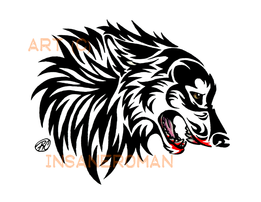 Snarling Wolf Tribal Design by InsaneRoman