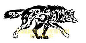 Stalking Wolf Tribal Design by InsaneRoman