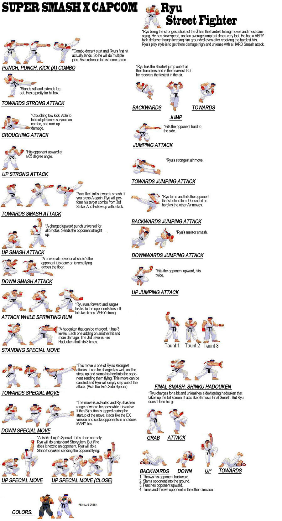 SF X SSB Ryu Move List by RenyNoise on DeviantArt