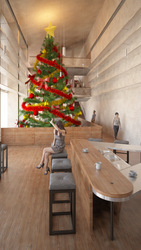 Interior with small christmass tree