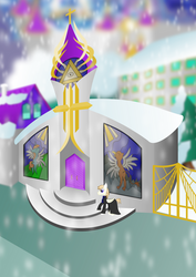 Canterlot Cathedral in Winter by TheCatkitty