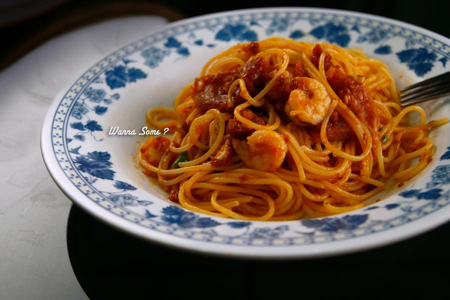 Shrimp and Bacon Spaghetti by hyugewb on deviantART