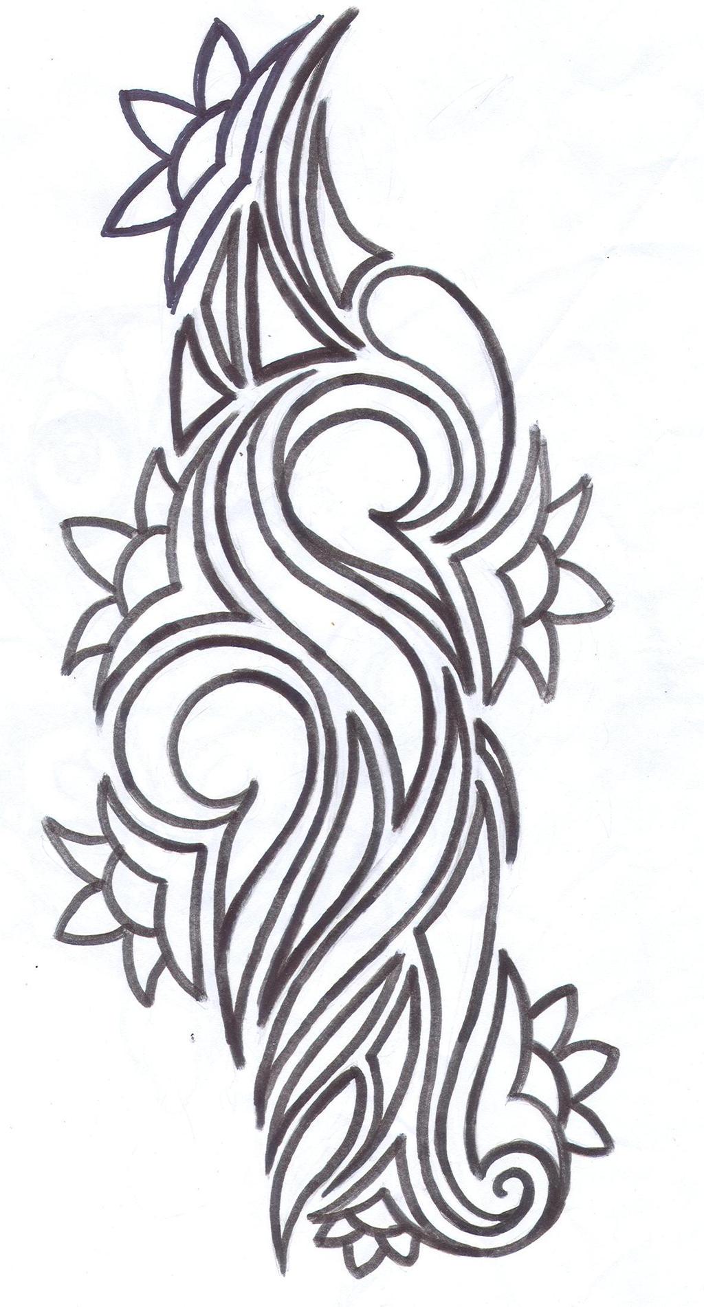 tribal flower tattoo design by average sensation on deviantart. Black Bedroom Furniture Sets. Home Design Ideas