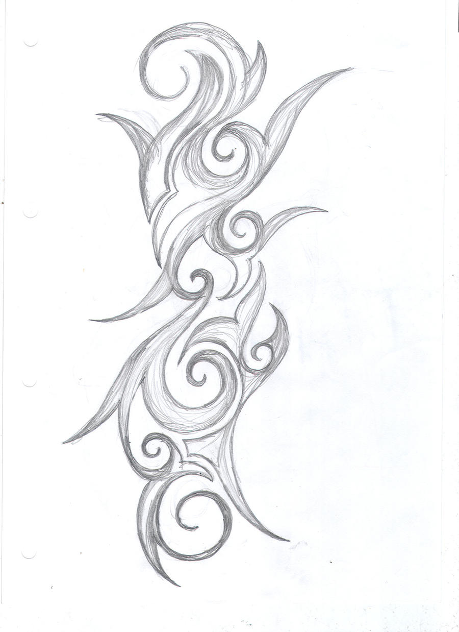 Swirl tribal tattoo design by average sensation on deviantart for Swirl tattoo designs