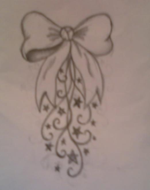 Bow Swirl Tattoo Design