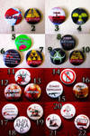 Zombie Themed Pin Back Buttons by RavynCrescent