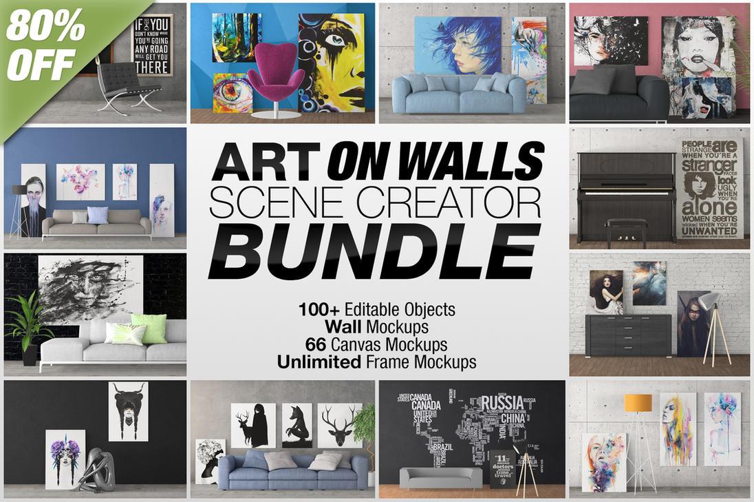 Art On Walls - Canvas, Frames Mockups Bundle by alexandergeorgieff