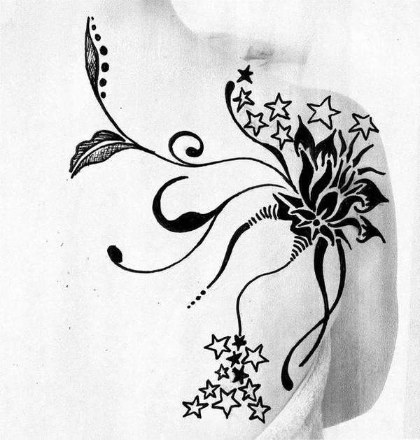 tribal flower tattoo by