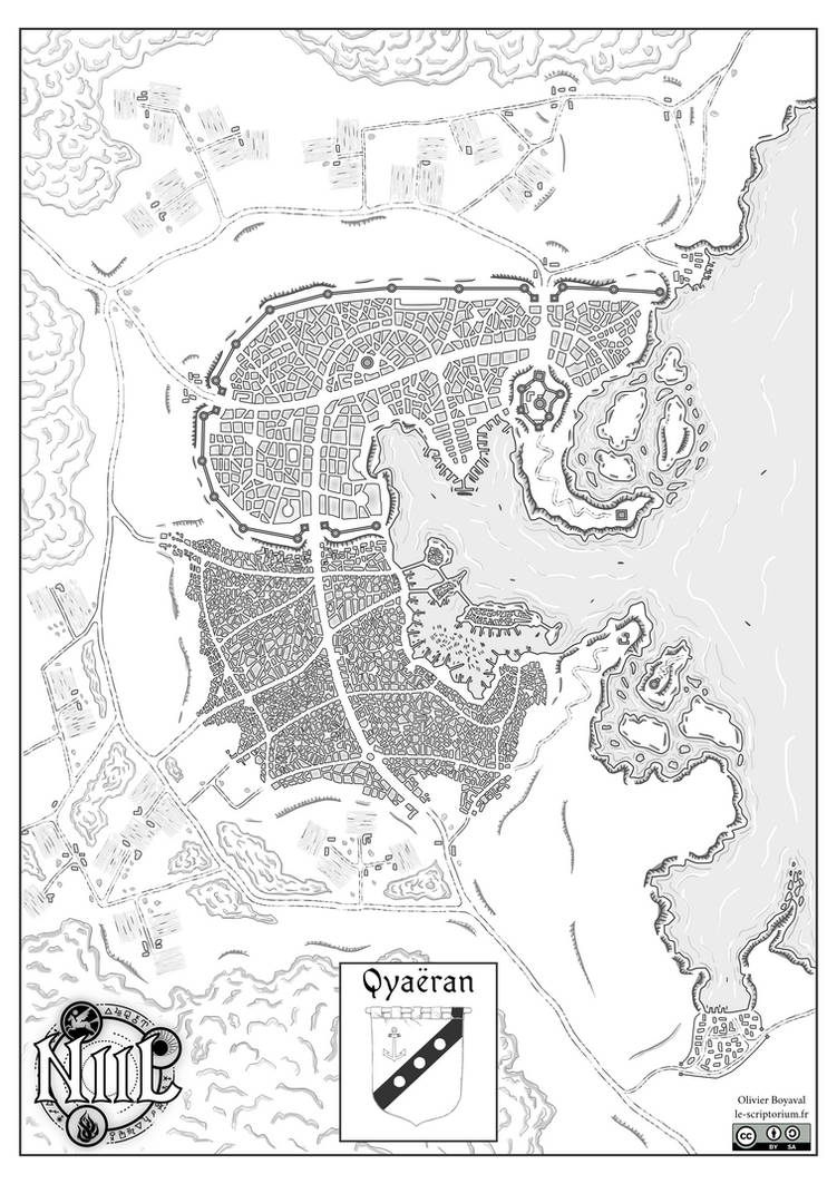 Map of Qyaeran city (Niil, fantasy world)