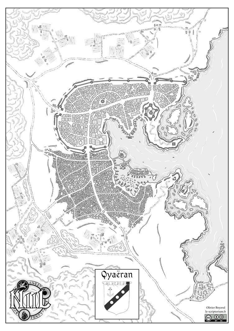 Map of Qyaeran city (Niil, fantasy world) by Etory