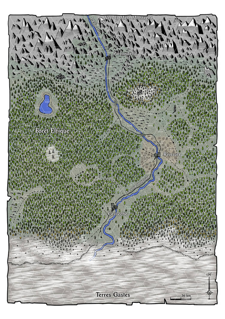La marche du Septentrion (fantasy map) by Etory