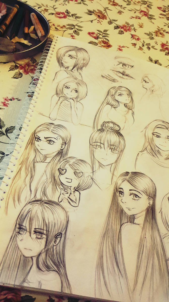 Anime sketches by xspaghettix