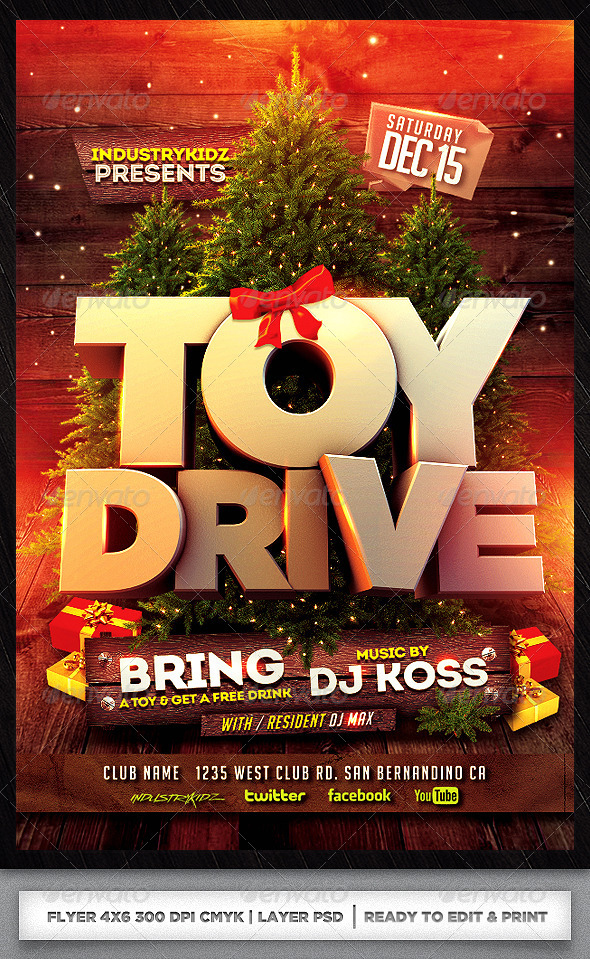 Toy Drive Flyer : Toy drive xmas flyer template psd by audioneptune on