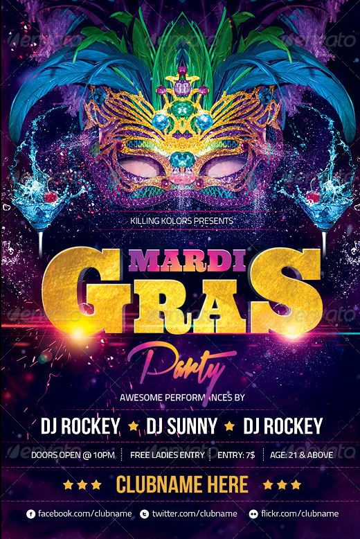 Mardi Gras Party Flyer Psd Template By Audioneptune On Deviantart