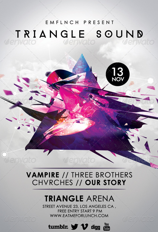 Futuristic Abstract Gigs Flyer Template PSD by AudioNeptune on ...