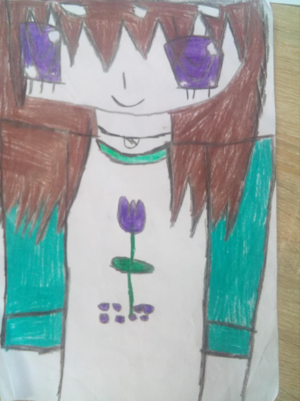 Anime Girl With Brown Hair And Purple Eyes Art By Rhiannonrosetheotaku On Deviantart