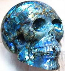 Labradorite Crystal Skull 001c by SKULLKRAFT