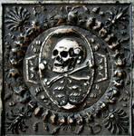 Stone skull and crossbones