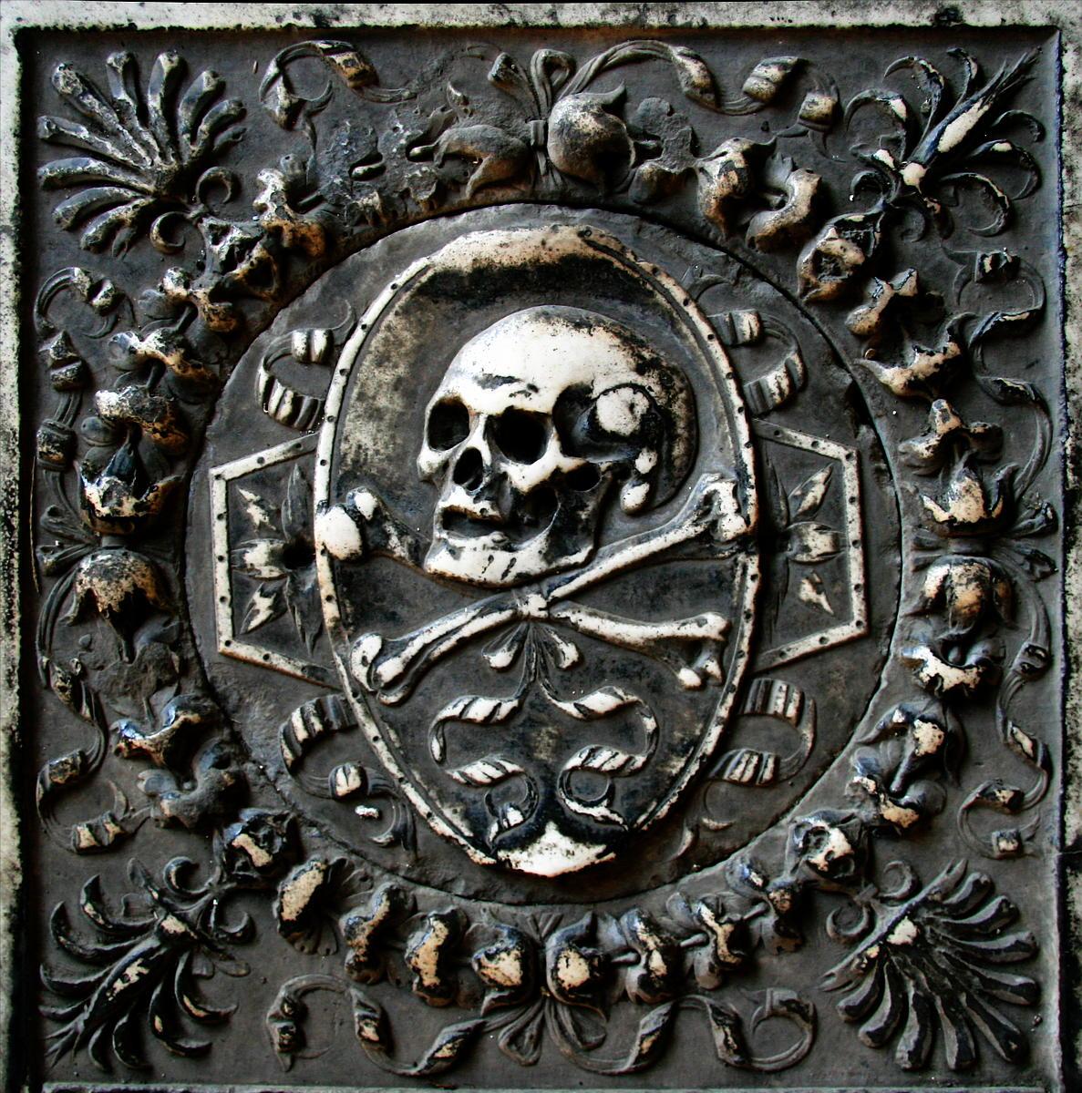 Stone skull and crossbones by barefootliam-stock
