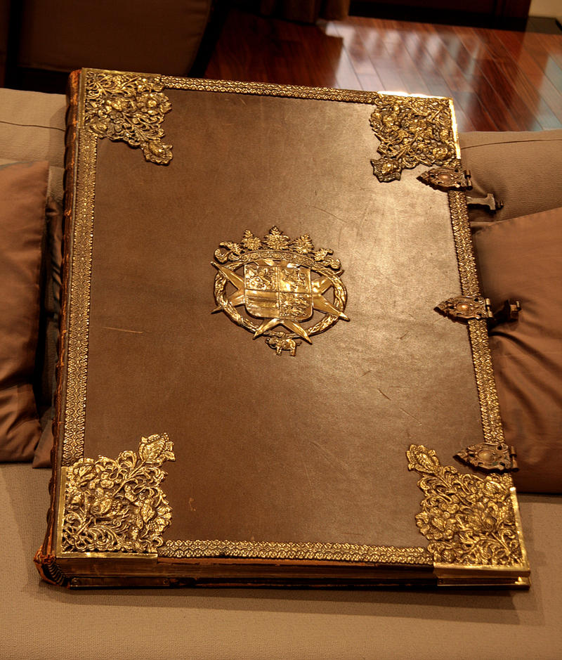 Huge old book , with clasps