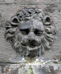 Stone fountain lion head 1