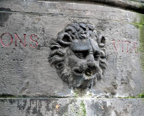 Lion-head stone fountain 2
